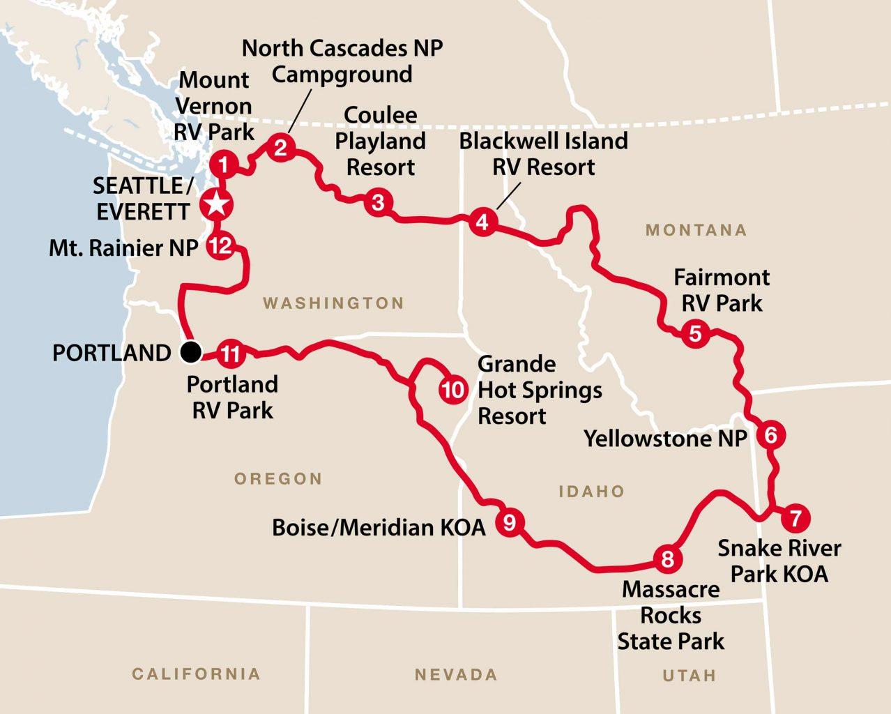 Anbefaling til rute: Det nordvestlige USA i autocamper