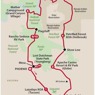 Arizonas røde klipper og kløfter kort