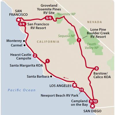 Det sydlige Californien kort