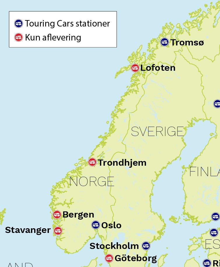 Autocamper Norge stationer på kort