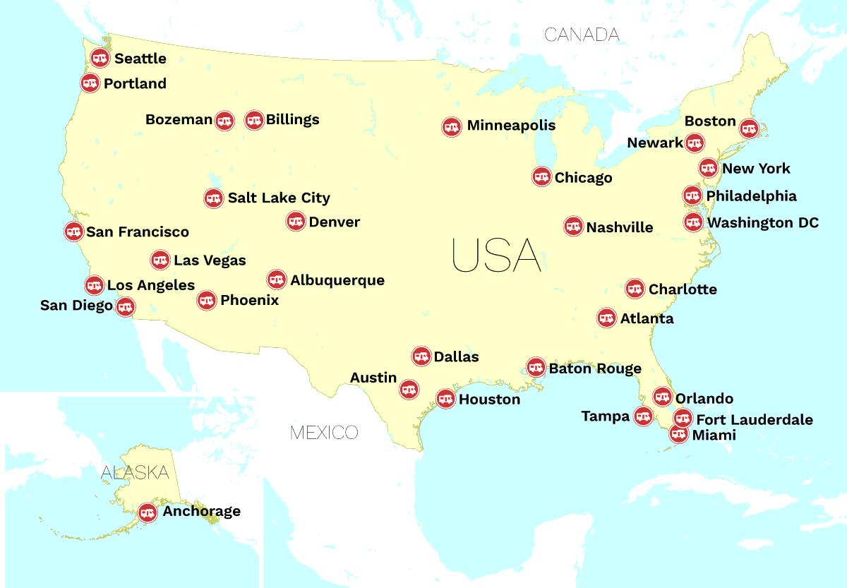 Cruise America lejestationer i USA