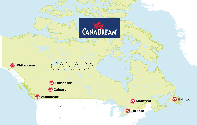Canadreams stationer i Canada